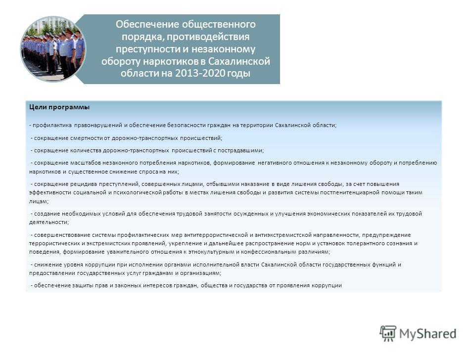 Обеспечение общественного порядка, противодействия преступности и незаконному обороту наркотиков в Сахалинской области на 2013-2020 годы Цели программы - профилактика правонарушений и обеспечение безопасности граждан на территории Сахалинской области