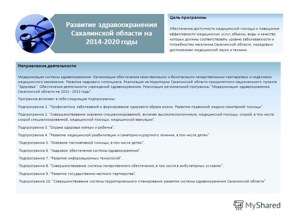 Развитие здравоохранения Сахалинской области на 2014-2020 годы Цель программы Обеспечение доступности медицинской помощи и повышение эффективности медицинских услуг, объемы, виды и качество которых должны соответствовать уровню заболеваемости и потре