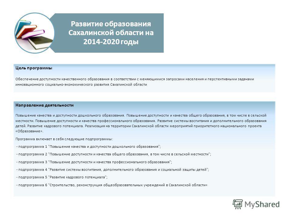 Развитие образования Сахалинской области на 2014-2020 годы Цель программы Обеспечение доступности качественного образования в соответствии с меняющимися запросами населения и перспективными задачами инновационного социально-экономического развития Са