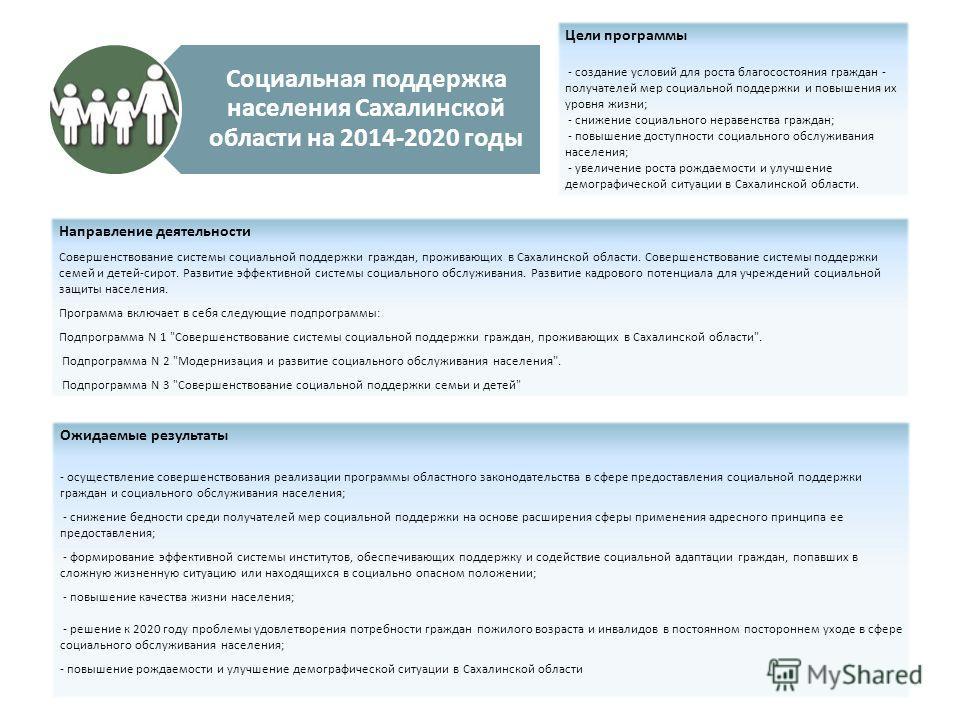 Социальная поддержка населения Сахалинской области на 2014-2020 годы Цели программы - создание условий для роста благосостояния граждан - получателей мер социальной поддержки и повышения их уровня жизни; - снижение социального неравенства граждан; -