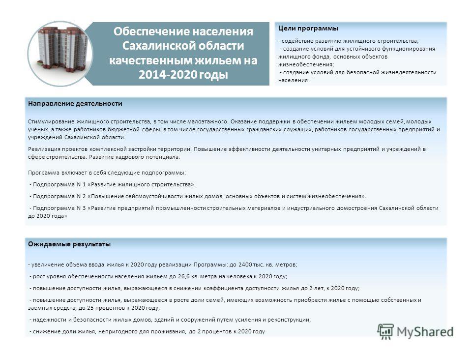Обеспечение населения Сахалинской области качественным жильем на 2014-2020 годы Цели программы - содействие развитию жилищного строительства; - создание условий для устойчивого функционирования жилищного фонда, основных объектов жизнеобеспечения; - с