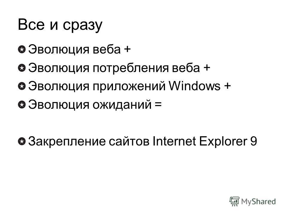 Все и сразу Эволюция веба + Эволюция потребления веба + Эволюция приложений Windows + Эволюция ожиданий = Закрепление сайтов Internet Explorer 9