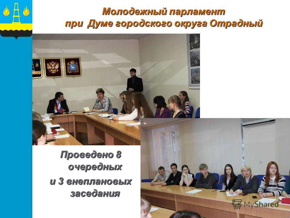 Молодежный парламент при Думе городского округа Отрадный Проведено 8 очередных и 3 внеплановых заседания