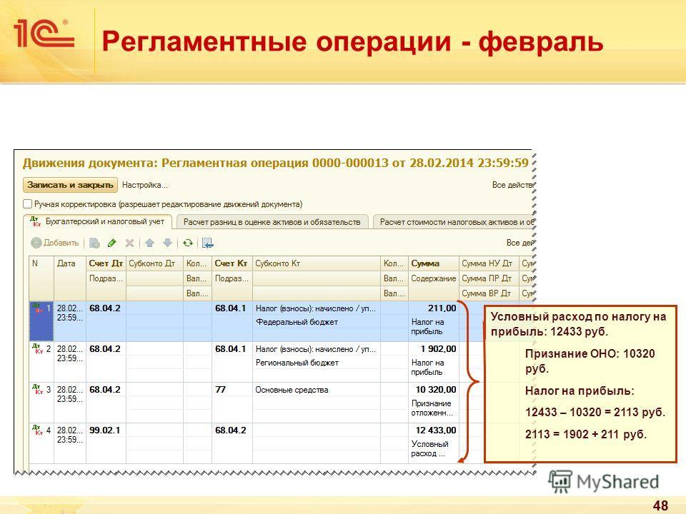 48 Регламентные операции - февраль 48 Условный расход по налогу на прибыль: 12433 руб. Признание ОНО: 10320 руб. Налог на прибыль: 12433 – 10320 = 2113 руб. 2113 = 1902 + 211 руб.