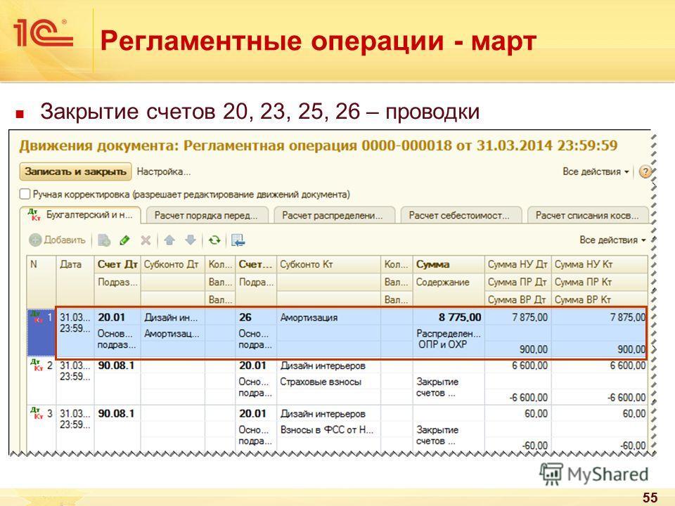 55 Регламентные операции - март Закрытие счетов 20, 23, 25, 26 – проводки 55