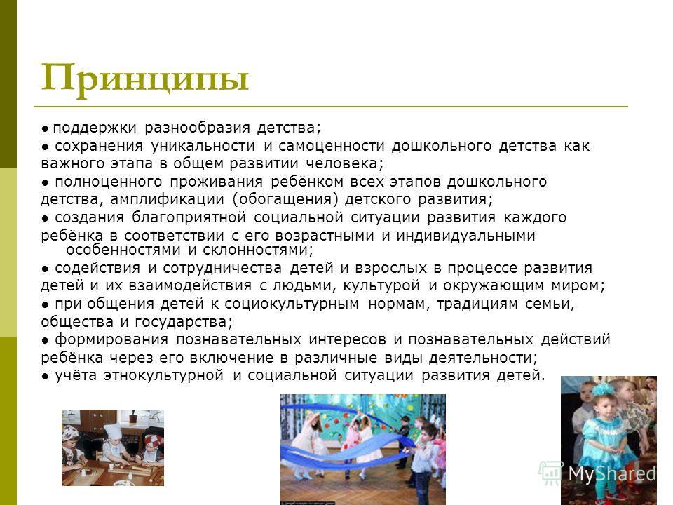 Принципы поддержки разнообразия детства; сохранения уникальности и самоценности дошкольного детства как важного этапа в общем развитии человека; полноценного проживания ребёнком всех этапов дошкольного детства, амплификации (обогащения) детского разв
