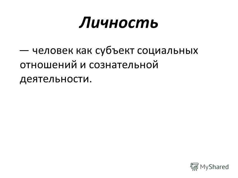 Личность человек как субъект социальных отношений и сознательной деятельности.