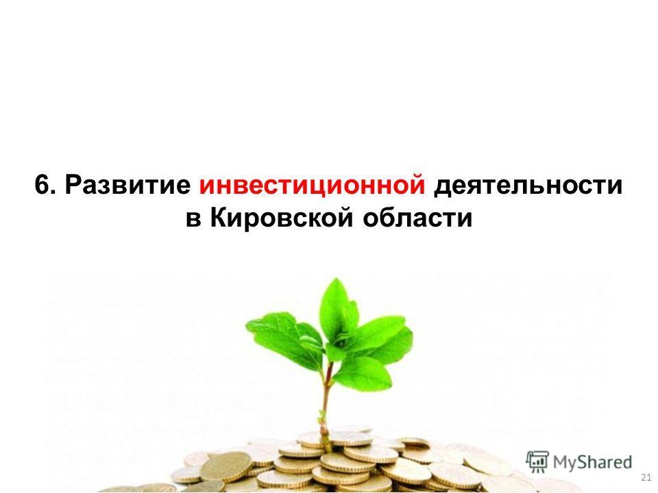 6. Развитие инвестиционной деятельности в Кировской области 21