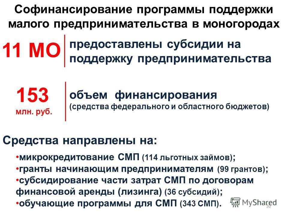 предоставлены субсидии на поддержку предпринимательства объем финансирования (средства федерального и областного бюджетов) Софинансирование программы поддержки малого предпринимательства в моногородах 11 МО 153 млн. руб. микрокредитование СМП (114 ль