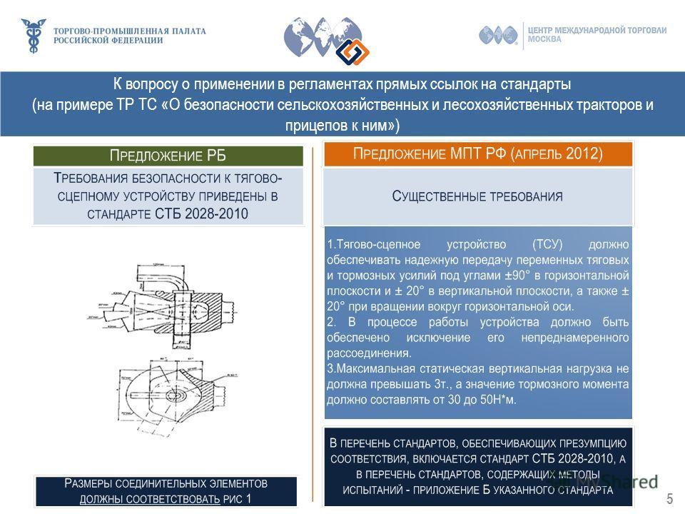 К вопросу о применении в регламентах прямых ссылок на стандарты (на примере ТР ТС «О безопасности сельскохозяйственных и лесохозяйственных тракторов и прицепов к ним») 5