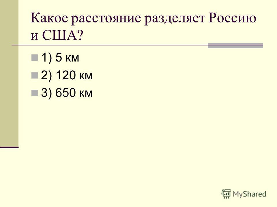 Какое расстояние разделяет Россию и США? 1) 5 км 2) 120 км 3) 650 км