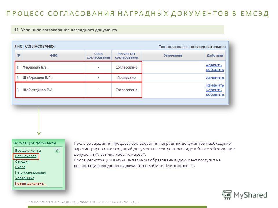 15 ПРОЦЕСС СОГЛАСОВАНИЯ НАГРАДНЫХ ДОКУМЕНТОВ В ЕМСЭД СОГЛАСОВАНИЕ НАГРАДНЫХ ДОКУМЕНТОВ В ЭЛЕКТРОННОМ ВИДЕ 11. Успешное согласование наградного документа После завершения процесса согласования наградных документов необходимо зарегистрировать исходящий