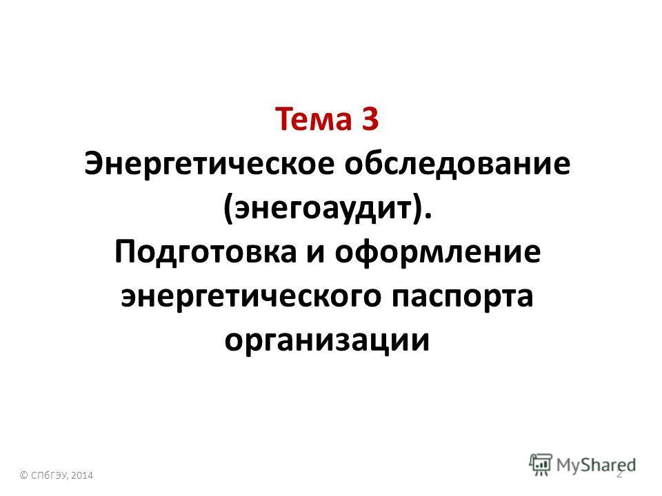 2 Тема 3 Энергетическое обследование (энегоаудит). Подготовка и оформление энергетического паспорта организации © СПбГЭУ, 2014