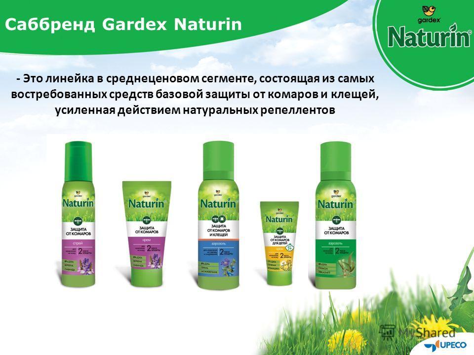 Саббренд Gardex Naturin - Это линейка в среднеценовом сегменте, состоящая из самых востребованных средств базовой защиты от комаров и клещей, усиленная действием натуральных репеллентов
