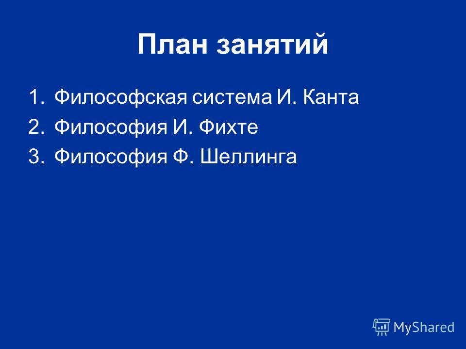 План занятий 1.Философская система И. Канта 2.Философия И. Фихте 3.Философия Ф. Шеллинга