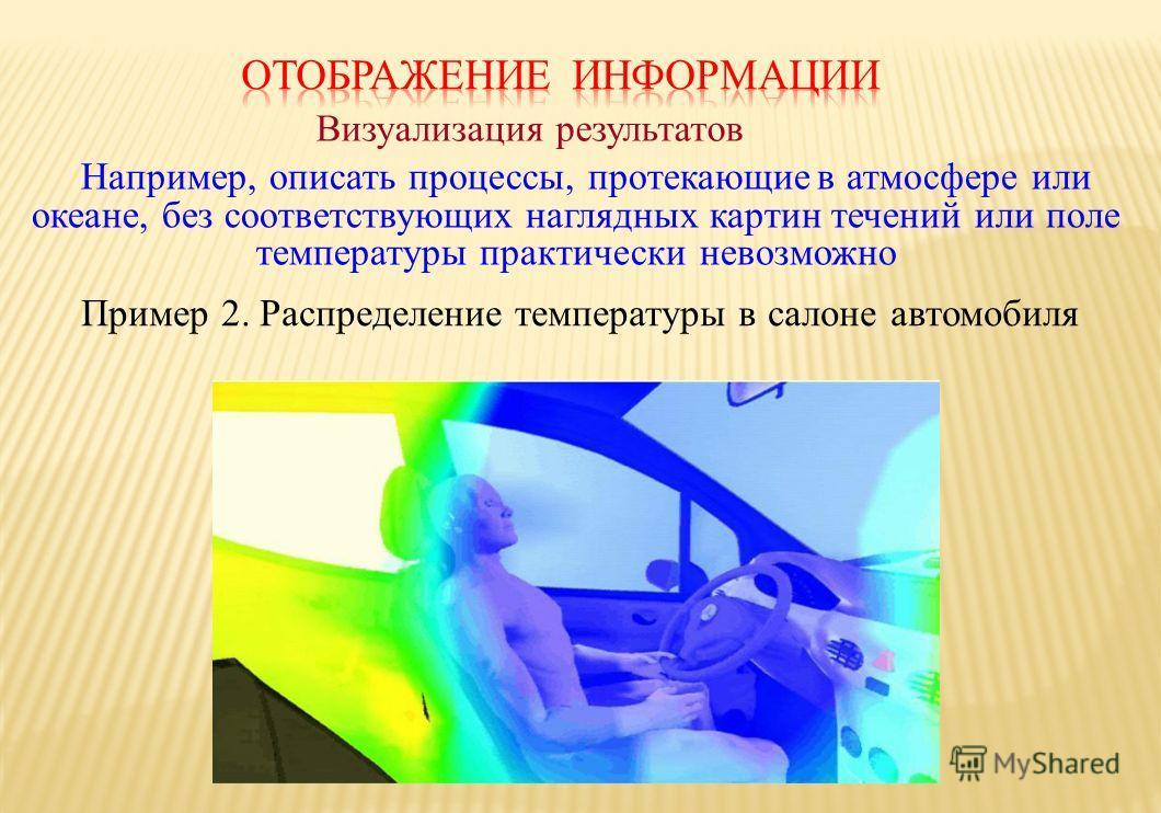 Пример 2. Распределение температуры в салоне автомобиля Визуализация результатов Например, описать процессы, протекающиев атмосфере или океане, без соответствующихнаглядных картин течений или поле температуры практически невозможно