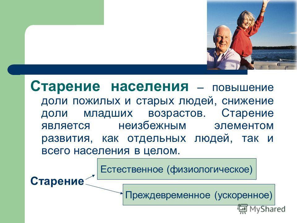 Старение населения – повышение доли пожилых и старых людей, снижение доли младших возрастов. Старение является неизбежным элементом развития, как отдельных людей, так и всего населения в целом. Старение Естественное (физиологическое) Преждевременное