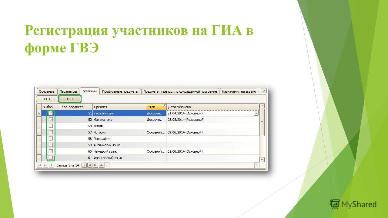 Регистрация участников на ГИА в форме ГВЭ
