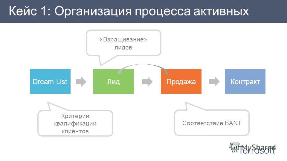 Кейс 1: Организация процесса активных продаж « Взращивание» лидов Соответствие BANT Критерии квалификации клиентов Dream ListЛидПродажаКонтракт