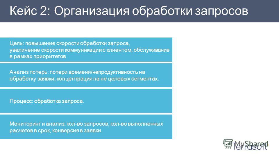 Цель: повышение скорости обработки запроса, увеличение скорости коммуникации с клиентом, обслуживание в рамках приоритетов Кейс 2: Организация обработки запросов Анализ потерь: потери времени/непродуктивность на обработку заявки, концентрация на не ц