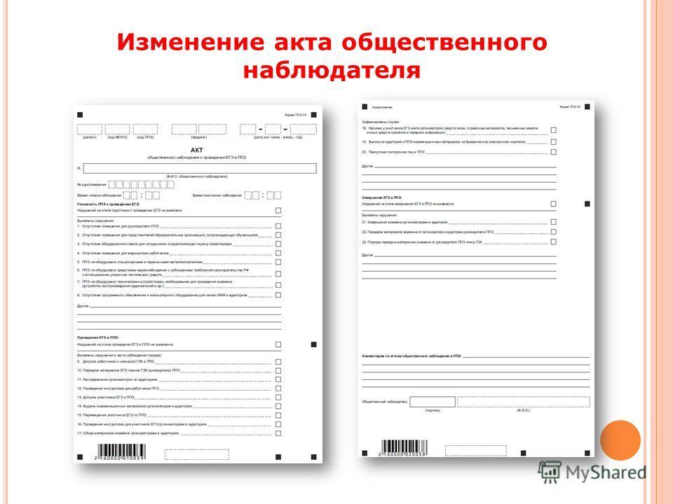Изменение акта общественного наблюдателя