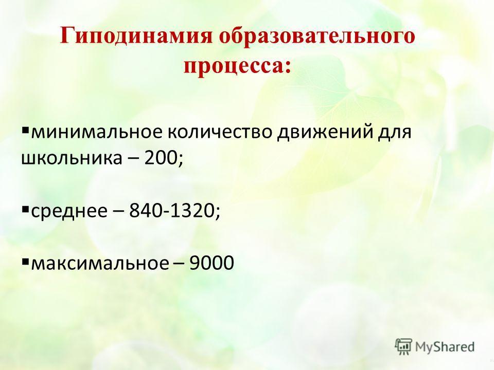 минимальное количество движений для школьника – 200; среднее – 840-1320; максимальное – 9000 Гиподинамия образовательного процесса: