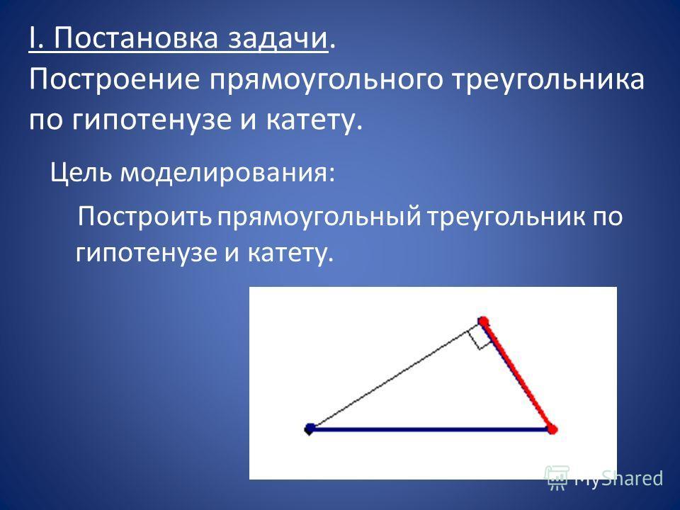 I. Постановка задачи. Построение прямоугольного треугольника по гипотенузе и катету. Цель моделирования: Построить прямоугольный треугольник по гипотенузе и катету.