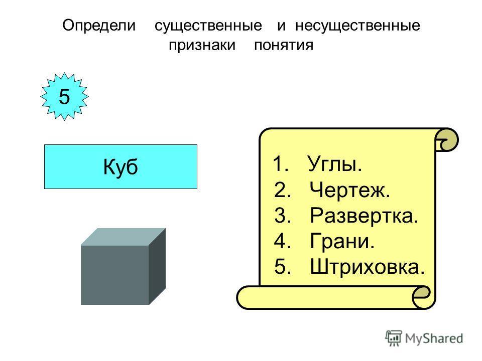 1. Углы. 2. Чертеж. 3. Развертка. 4. Грани. 5. Штриховка. Определи существенные и несущественные признаки понятия 5 Куб