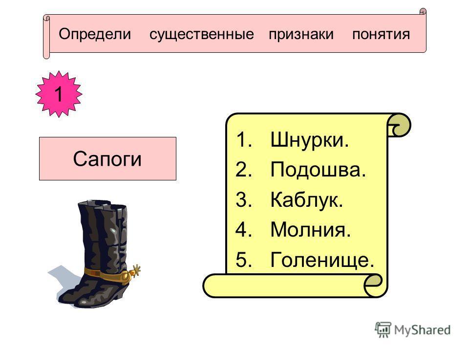 Определи существенные признаки понятия 1. Шнурки. 2. Подошва. 3. Каблук. 4. Молния. 5. Голенище. 1 Сапоги