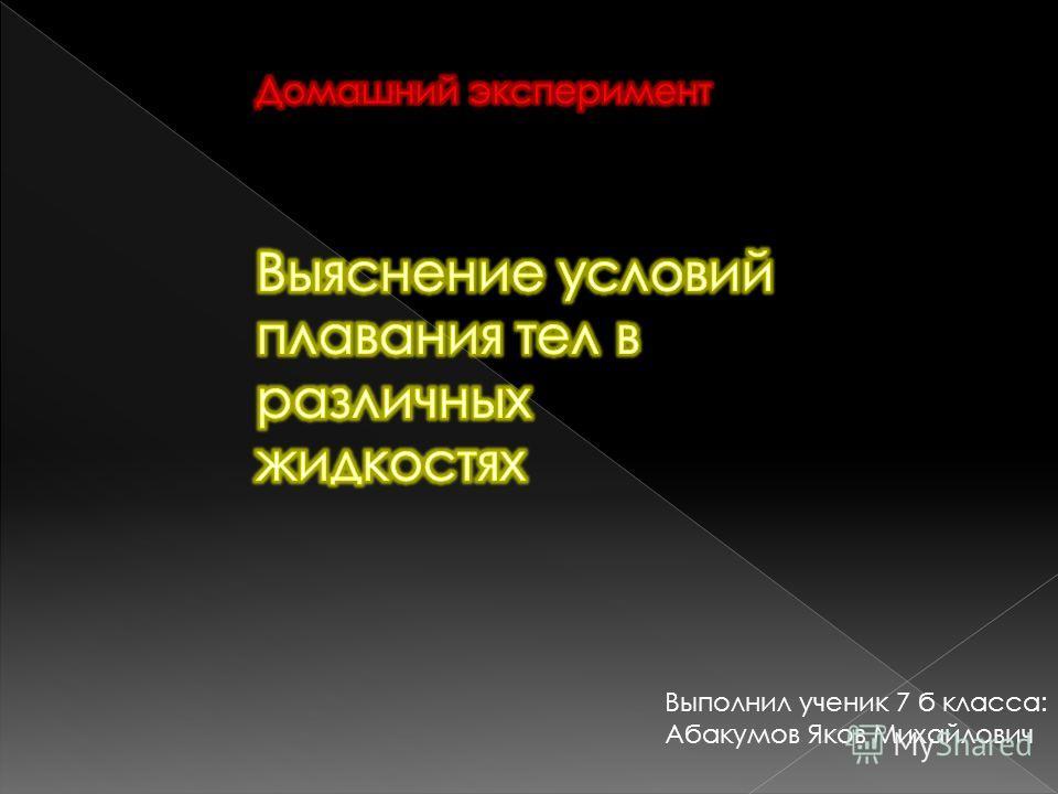 Выполнил ученик 7 б класса: Абакумов Яков Михайлович