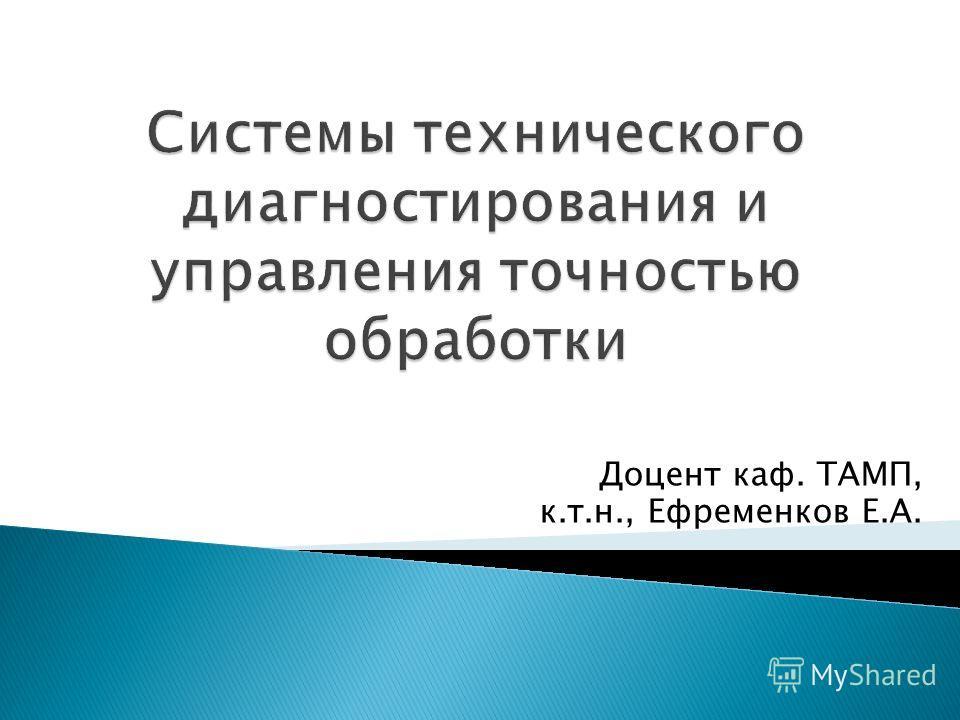 Доцент каф. ТАМП, к.т.н., Ефременков Е.А.