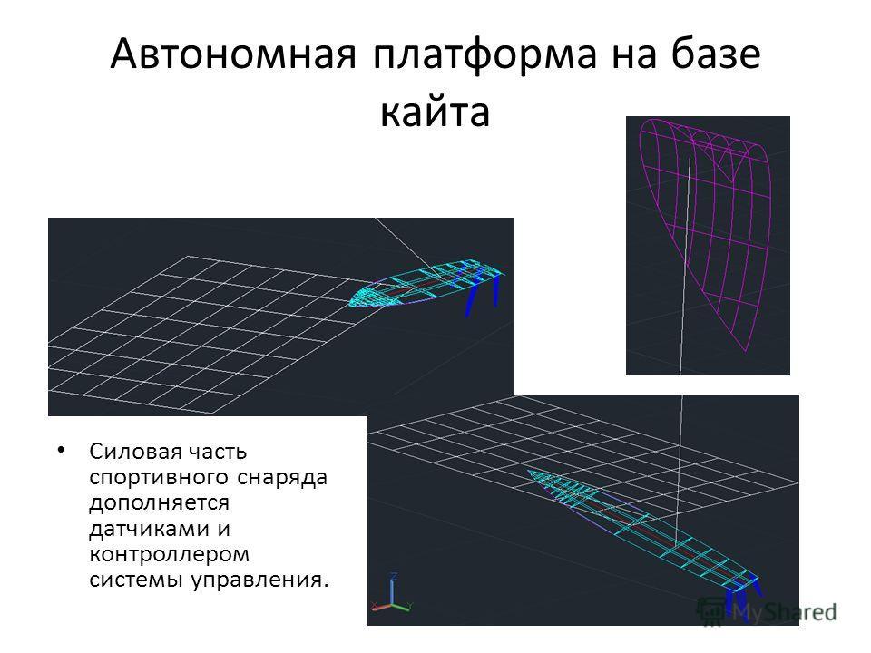 Автономная платформа на базе кайта Силовая часть спортивного снаряда дополняется датчиками и контроллером системы управления.