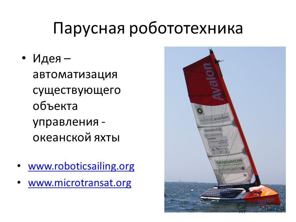 Парусная робототехника Идея – автоматизация существующего объекта управления - океанской яхты www.roboticsailing.org www.microtransat.org