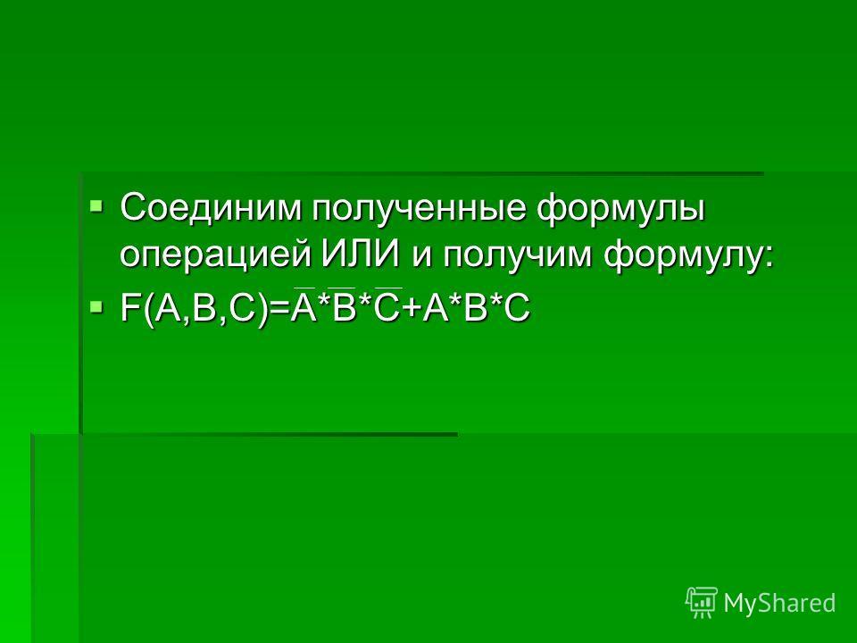 Соединим полученные формулы операцией ИЛИ и получим формулу: Соединим полученные формулы операцией ИЛИ и получим формулу: F(A,B,C)=A*B*C+A*B*C F(A,B,C)=A*B*C+A*B*C