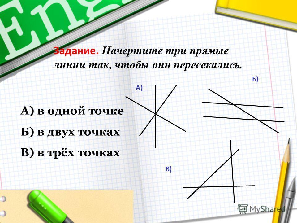 Задание. Начертите три прямые линии так, чтобы они пересекались. А) в одной точке Б) в двух точках В) в трёх точках А) Б) В)