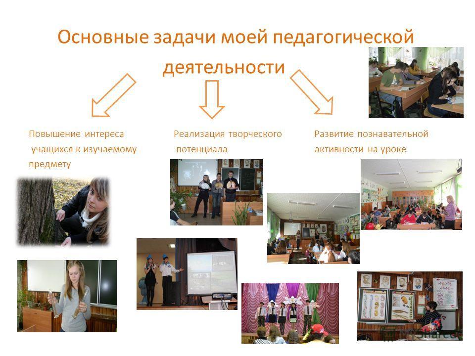 Основные задачи моей педагогической деятельности Повышение интереса Реализация творческого Развитие познавательной учащихся к изучаемому потенциала активности на уроке предмету