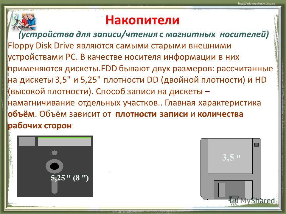Накопители (устройства для записи/чтения с магнитных носителей) Floppy Disk Drive являются самыми старыми внешними устройствами PC. В качестве носителя информации в них применяются дискеты.FDD бывают двух размеров: рассчитанные на дискеты 3,5