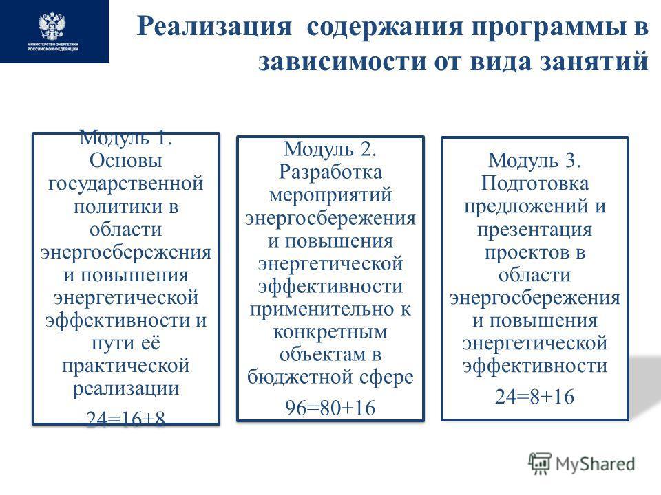 Реализация содержания программы в зависимости от вида занятий Модуль 1. Основы государственной политики в области энергосбережения и повышения энергетической эффективности и пути её практической реализации 24=16+8 Модуль 2. Разработка мероприятий эне