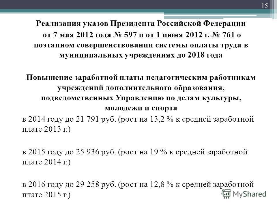 Реализация указов Президента Российской Федерации от 7 мая 2012 года 597 и от 1 июня 2012 г. 761 о поэтапном совершенствовании системы оплаты труда в муниципальных учреждениях до 2018 года Повышение заработной платы педагогическим работникам учрежден