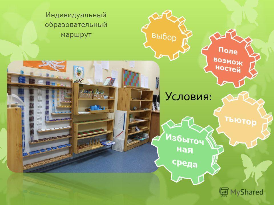 Индивидуальный образовательный маршрут Условия: