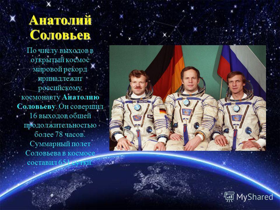 Анатолий Соловьев По числу выходов в открытый космос мировой рекорд принадлежит российскому космонавту Анатолию Соловьеву. Он совершил 16 выходов общей продолжительностью более 78 часов. Суммарный полет Соловьева в космосе составил 651 сутки.
