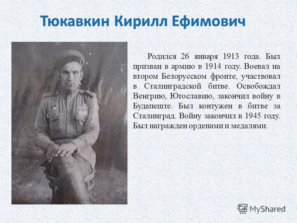 Родился 26 января 1913 года. Был призван в армию в 1914 году. Воевал на втором Белорусском фронте, участвовал в Сталинградской битве. Освобождал Венгрию, Югославию, закончил войну в Будапеште. Был контужен в битве за Сталинград. Войну закончил в 1945