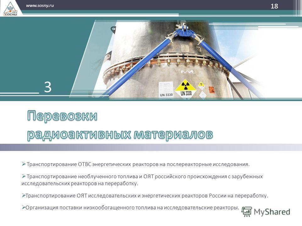 18 www.sosny.ru Транспортирование ОТВС энергетических реакторов на послереакторные исследования. Транспортирование необлученного топлива и ОЯТ российского происхождения с зарубежных исследовательских реакторов на переработку. Транспортирование ОЯТ ис