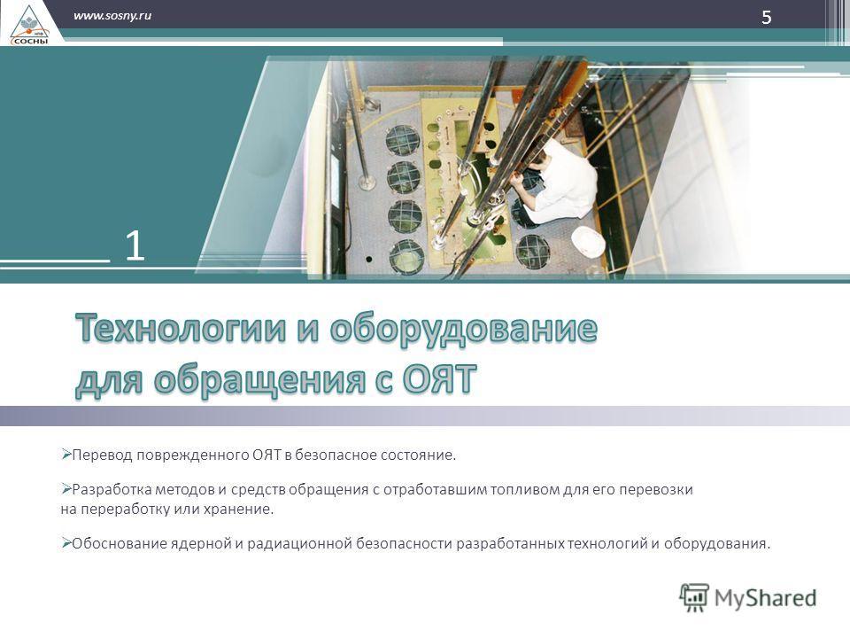 5 www.sosny.ru Перевод поврежденного ОЯТ в безопасное состояние. Разработка методов и средств обращения с отработавшим топливом для его перевозки на переработку или хранение. Обоснование ядерной и радиационной безопасности разработанных технологий и