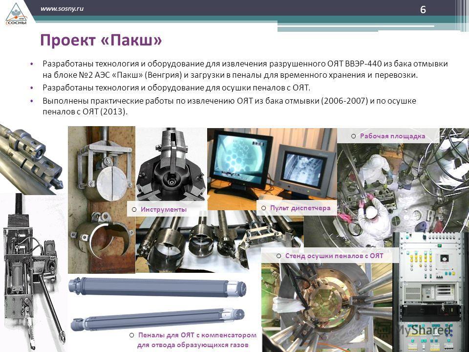 6 www.sosny.ru Проект «Пакш» Разработаны технология и оборудование для извлечения разрушенного ОЯТ ВВЭР-440 из бака отмывки на блоке 2 АЭС «Пакш» (Венгрия) и загрузки в пеналы для временного хранения и перевозки. Разработаны технология и оборудование