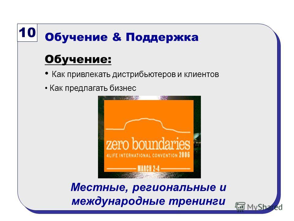 10 Обучение & Поддержка Обучение: Как привлекать дистрибьютеров и клиентов Как предлагать бизнес Местные, региональные и международные тренинги