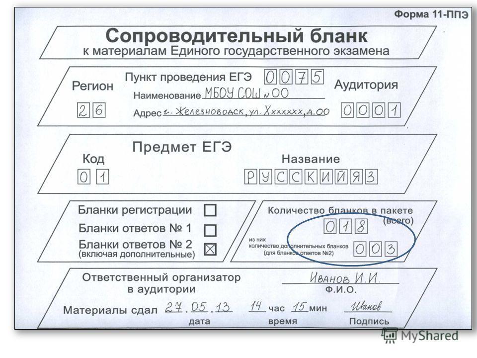 ППЭ – 11 – Сопроводительный бланк к материалам ЕГЭ ППЭ – 11-01 – Сопроводительный бланк к материалам ЕГЭ 2