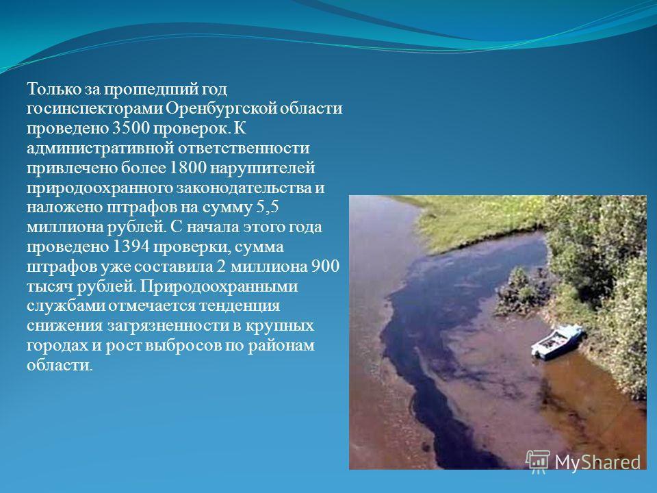 Только за прошедший год госинспекторами Оренбургской области проведено 3500 проверок. К административной ответственности привлечено более 1800 нарушителей природоохранного законодательства и наложено штрафов на сумму 5,5 миллиона рублей. С начала это