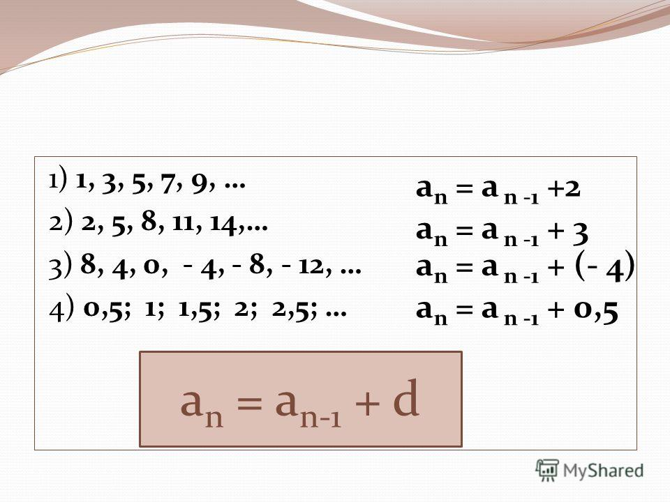 1) 1, 3, 5, 7, 9, … 2) 2, 5, 8, 11, 14,… 3) 8, 4, 0, - 4, - 8, - 12, … 4) 0,5; 1; 1,5; 2; 2,5; … a n = a n -1 +2 a n = a n -1 + 3 a n = a n -1 + (- 4) a n = a n -1 + 0,5 a n = a n-1 + d