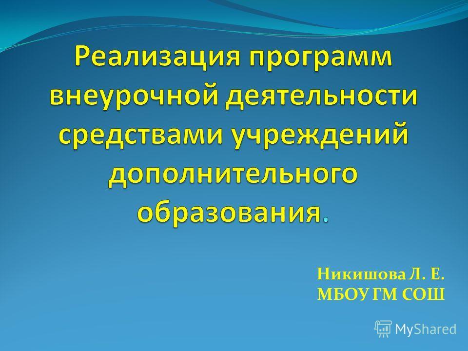 Никишова Л. Е. МБОУ ГМ СОШ